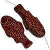 Glass Bead Fish 28x13mm Garnet Gold - Strung